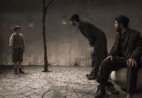 C. Conneely as Boy, Marty Rea as Vladimir and Aaron Monaghan as Estragon in